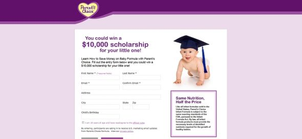 Parent's Choice Infant Formula College Savings Sweepstakes