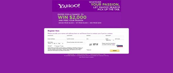 Yahoo! Search Sweepstakes