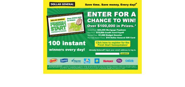 unileverpromotions.com/dollargeneral – Dollar General Fresh Start Sweepstakes