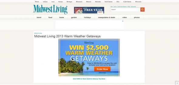 Midwest Living 2012 Warm Weather Getaways Sweepstakes