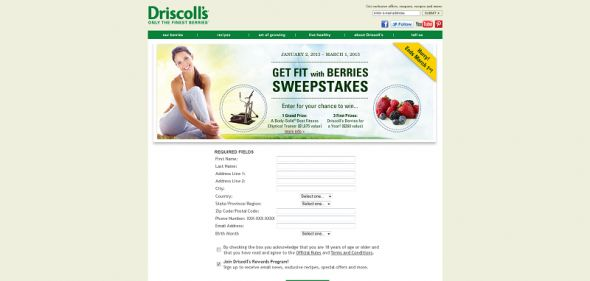 Driscoll's Get Fit With Berries Sweepstakes