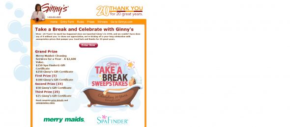 Ginny's Take A Break Sweepstakes