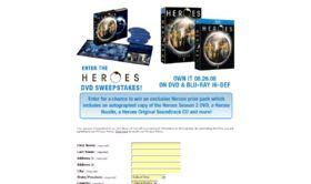 The Heroes Season 2 DVD Sweepstakes