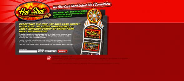 Hot Shot Cash Wheel Instant Win & Sweepstakes
