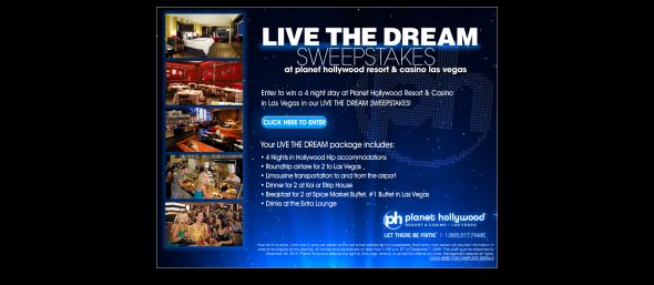 Planet Hollywood Live the Dream Sweepstakes