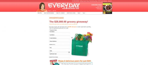 Every Day with Rachael Ray $25,000.00 Grocery Giveaway