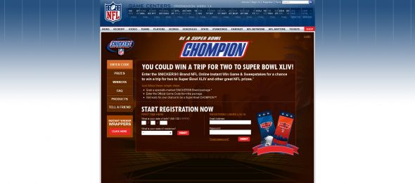 Snickers NFL Online Instant Win Game and Sweepstakes