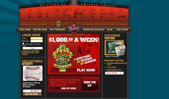 Swisher Sweet 50th Anniversary Trivia Game