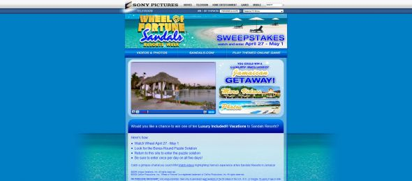 Wheel of Fortune Sandals Resorts Week Sweepstakes