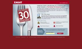 Zagat's Perfect 30 Giveaway Game Sweepstakes