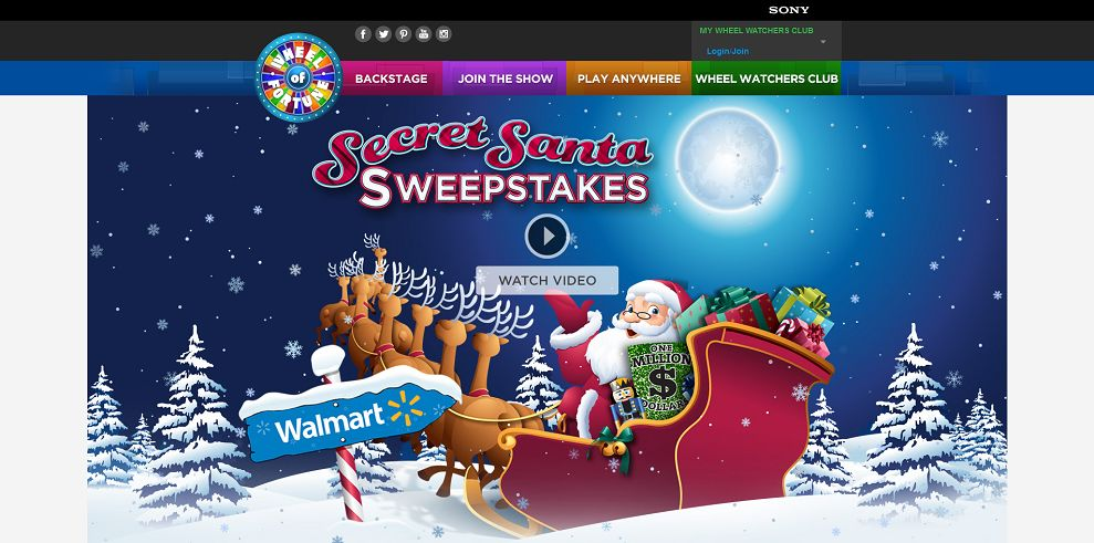 secret santa sweepstakes on wheel of fortune wheel of fortune sears secret santa spin id sweepstakes 9384