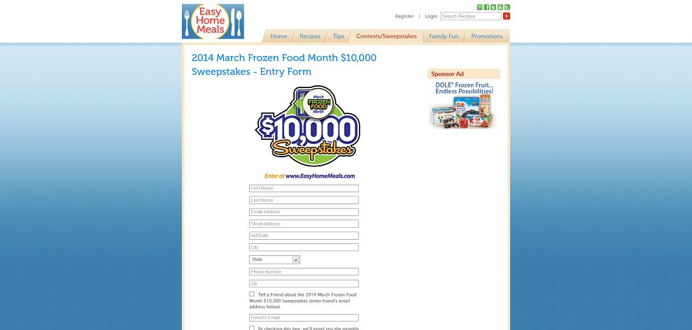 4696 2014 March Frozen Food Month 10 000 Sweepstakes