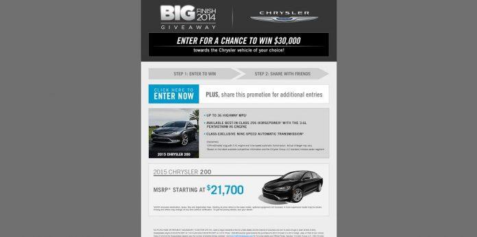 Chrysler big finish 2018 sweepstakes