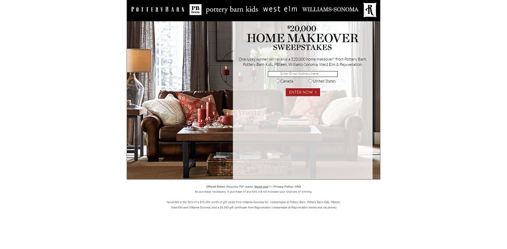 Pottery Barn $20,000 Home Makeover Sweepstakes