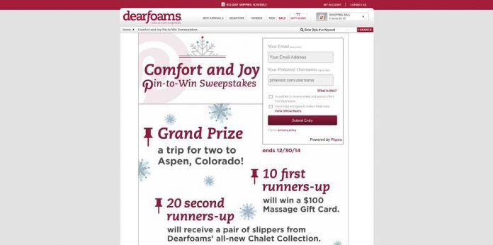 Dearfoams Comfort & Joy Pin-To-Win Sweepstakes