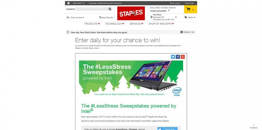 intel sweepstakes winners staples lessstress sweepstakes win an asus transformer 2526