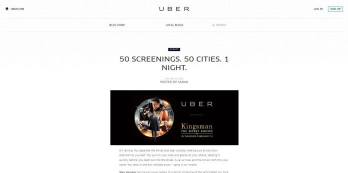 Kingsman: The Secret Service and Uber Sweepstakes