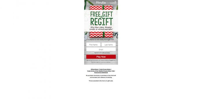 Trulia Free Gift or Regift Instant Win Game