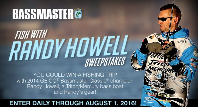 Bassmaster.com/FishWithRandy - Bassmaster Fish With Randy Howell Sweepstakes 2016