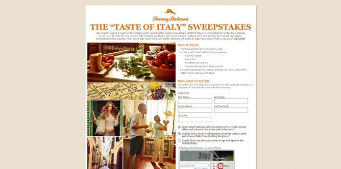 Tommy Bahama's Taste of Italy Sweepstakes