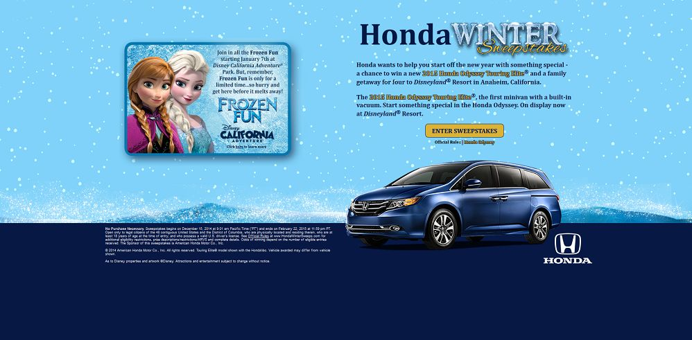 Honda Winter Sweepstakes: Join In All The Frozen Fun!