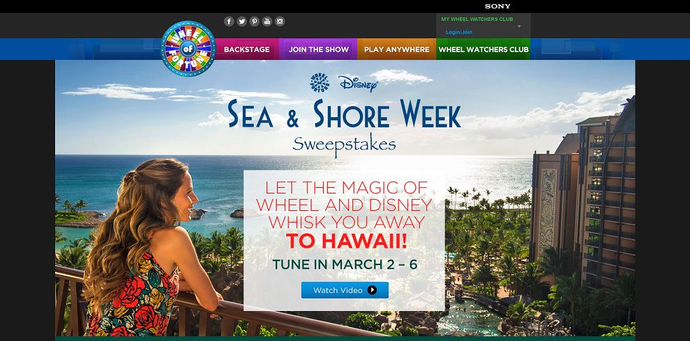 disney hawaii sweepstakes wheel of fortune disney sea shore sweepstakes tune in 4585