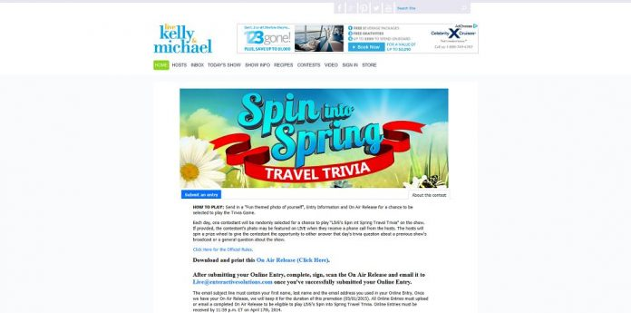 LIVE's Spin Into Spring Travel Trivia Sweepstakes