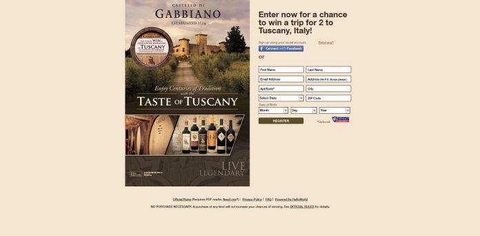 Taste of Tuscany Sweepstakes