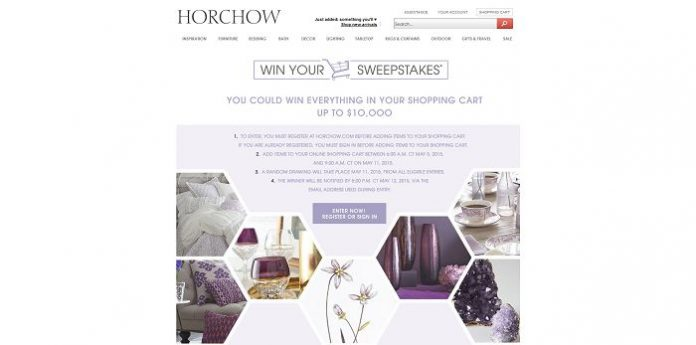 Horchow Win Your Shopping Cart Sweepstakes