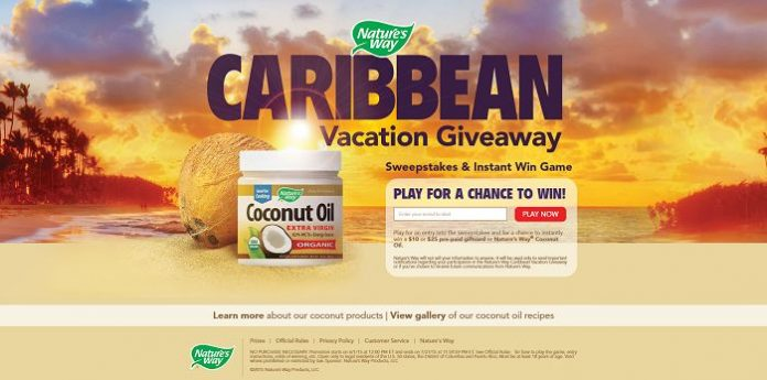 Nature's Way Caribbean Vacation Giveaway Instant Win and Sweepstakes