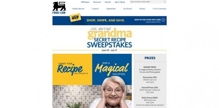 Food Lion Grandma's Secret Recipe Sweepstakes