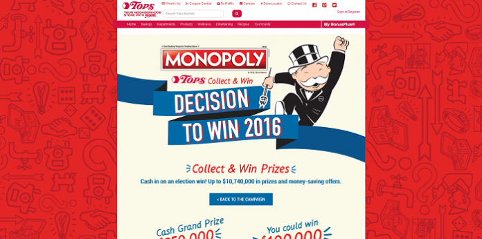 TopsMarkets.com/Monopoly - TOPS Markets Monopoly 2016