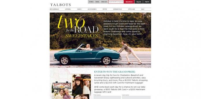Talbots Two For The Road Sweepstakes (Talbots.com/RoadTrip)