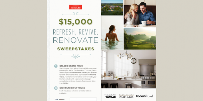 America's Test Kitchen $15,000 Refresh, Revive, Renovate Sweepstakes