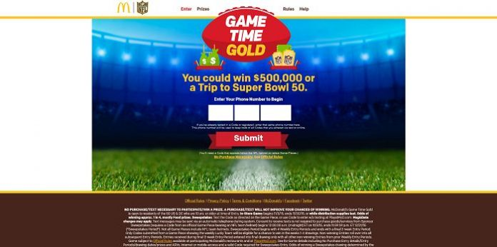 Game Time Gold At McDonald's Sweepstakes: Enter Your Code