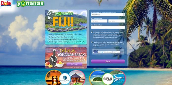 GoYonanas.com - Go Yonanas in Fiji Sweepstakes