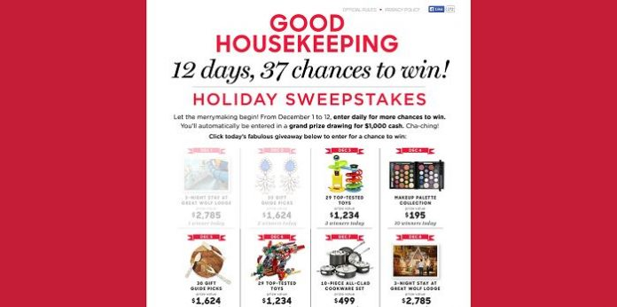 GoodHousekeeping.com/12Days - Good Housekeeping 12 Days Of Giveaways Sweepstakes