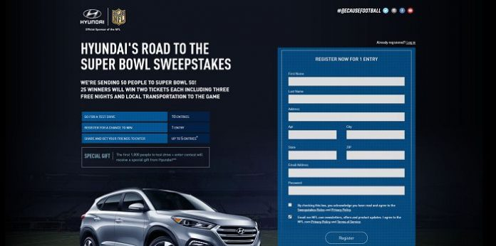 Hyundai's Road to the Super Bowl Sweepstakes