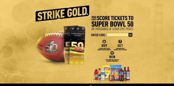 PepsiStrikeGold com Game: Score Tickets To Super Bowl 50