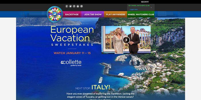Wheeloffortune Com European Vacation Sweepstakes