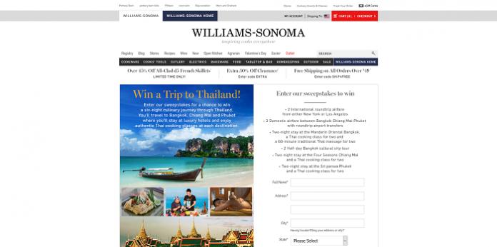 Williams-Sonoma Trip To Thailand Sweepstakes