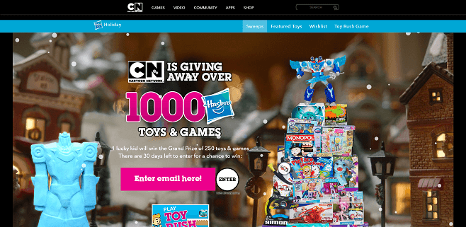cartoonnetwork com win holiday sweepstakes 2016