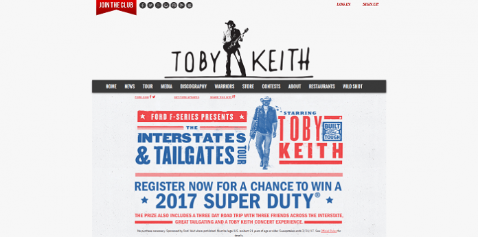 toby keith ford present the. Black Bedroom Furniture Sets. Home Design Ideas