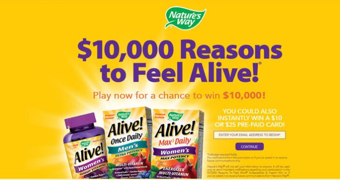 Play The Feel Alive Sweepstakes & Instant Win Game