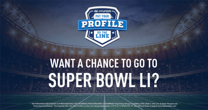Hyundai NFL Put Your Profile On The Line Sweepstakes
