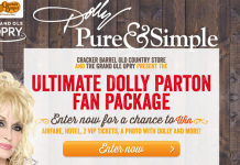 VIPWithDolly.com - Cracker Barrel Ultimate Dolly Parton Fan Package Sweepstakes