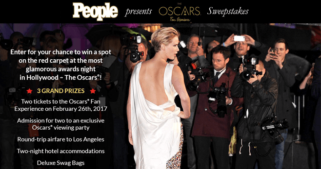 PEOPLE Red Carpet Oscars Fan Experience 2017 Sweepstakes (People.com/OFE2017)