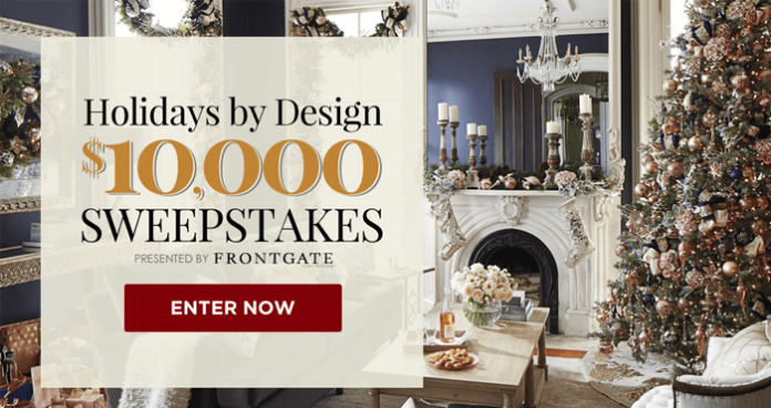 Traditional Home $10,000 Holidays By Design Sweepstakes (TraditionalHome.com/Frontgate)