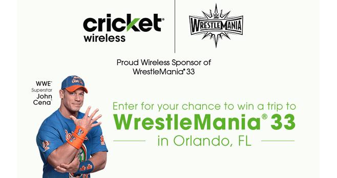 Cricket Wireless WrestleMania 33 Sweepstakes (CricketSweepstakes.com/WWE33)