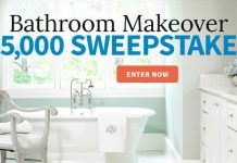 Win $5,000 cash for a bathroom makeover.